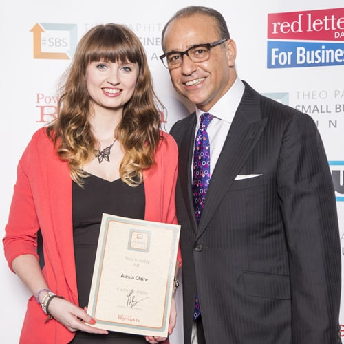 Alexia Claire with Dragons Den Dragon Star Theo Paphitis